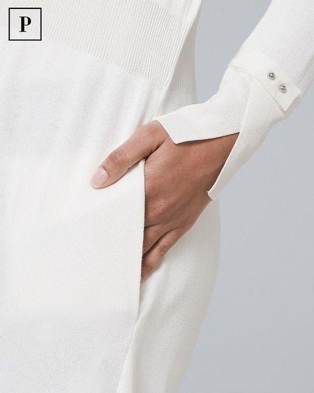 Women's Petite Cuff-Detail Midi Coverup by White House Black Market #Women's #Petite #Cuff-Detail #Midi #Coverup #White #House #Black #Market