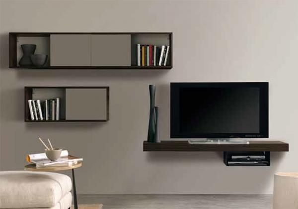 Modern Wall Storage System With Wall Mounted TV Stand And Wall Cabinets