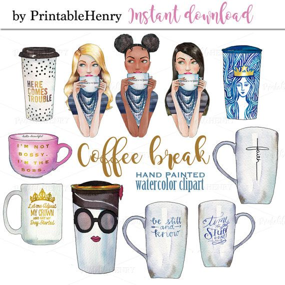Coffee Clipart Watercolor Girl Clipart Coffee By Printablehenry