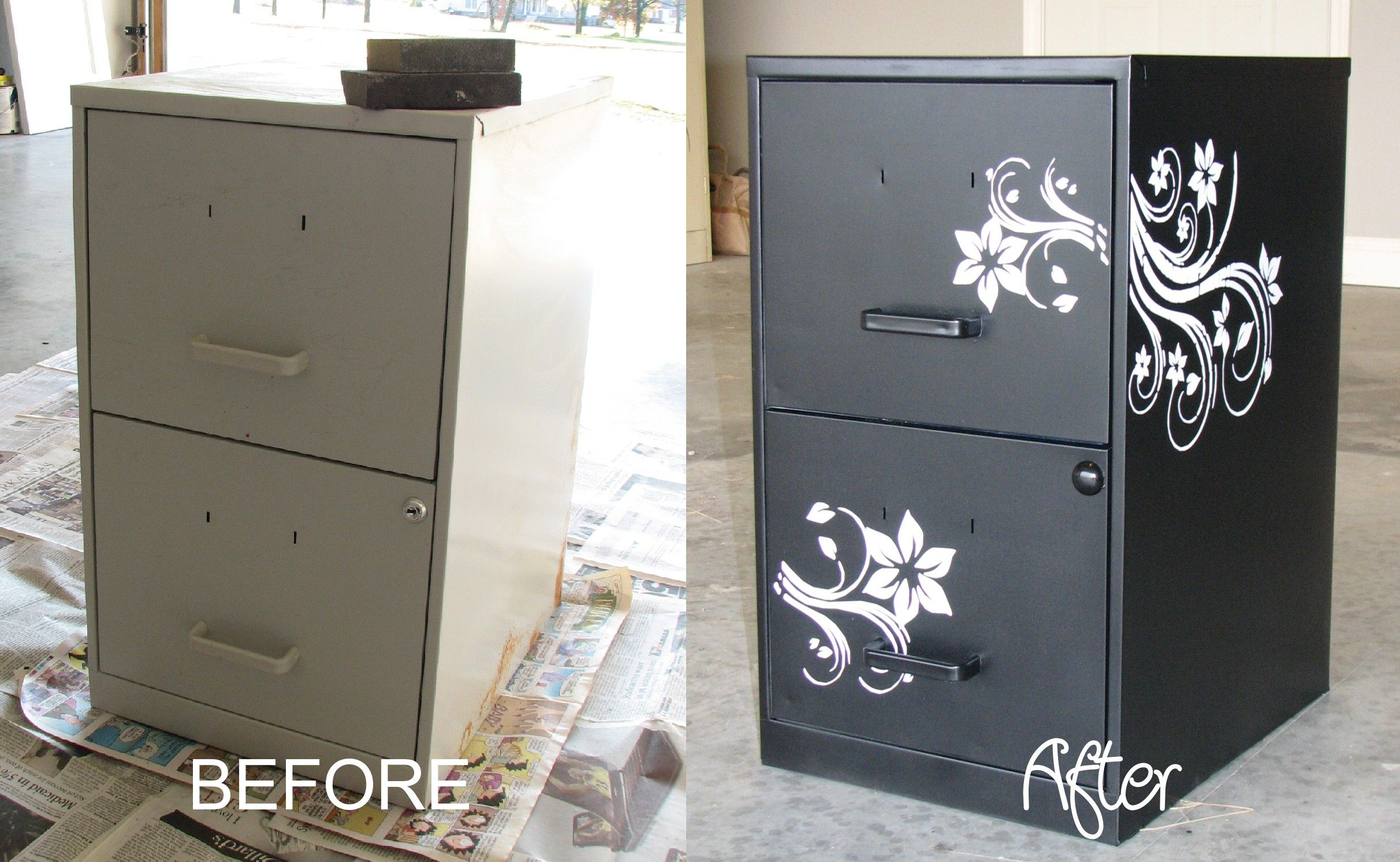 Top Spray Paint Filing Cabinet on a budget