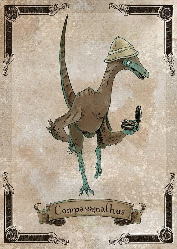 Compassgnathus steamPUNk dinosaur art print 8x10