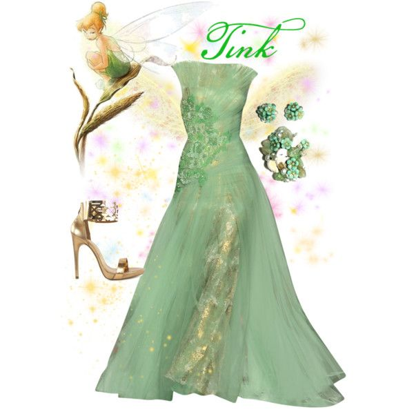 Day 6- your favorite unofficial princess-Tinkerbell by violetvd on Polyvore featuring polyvore fashion style River Island Disney