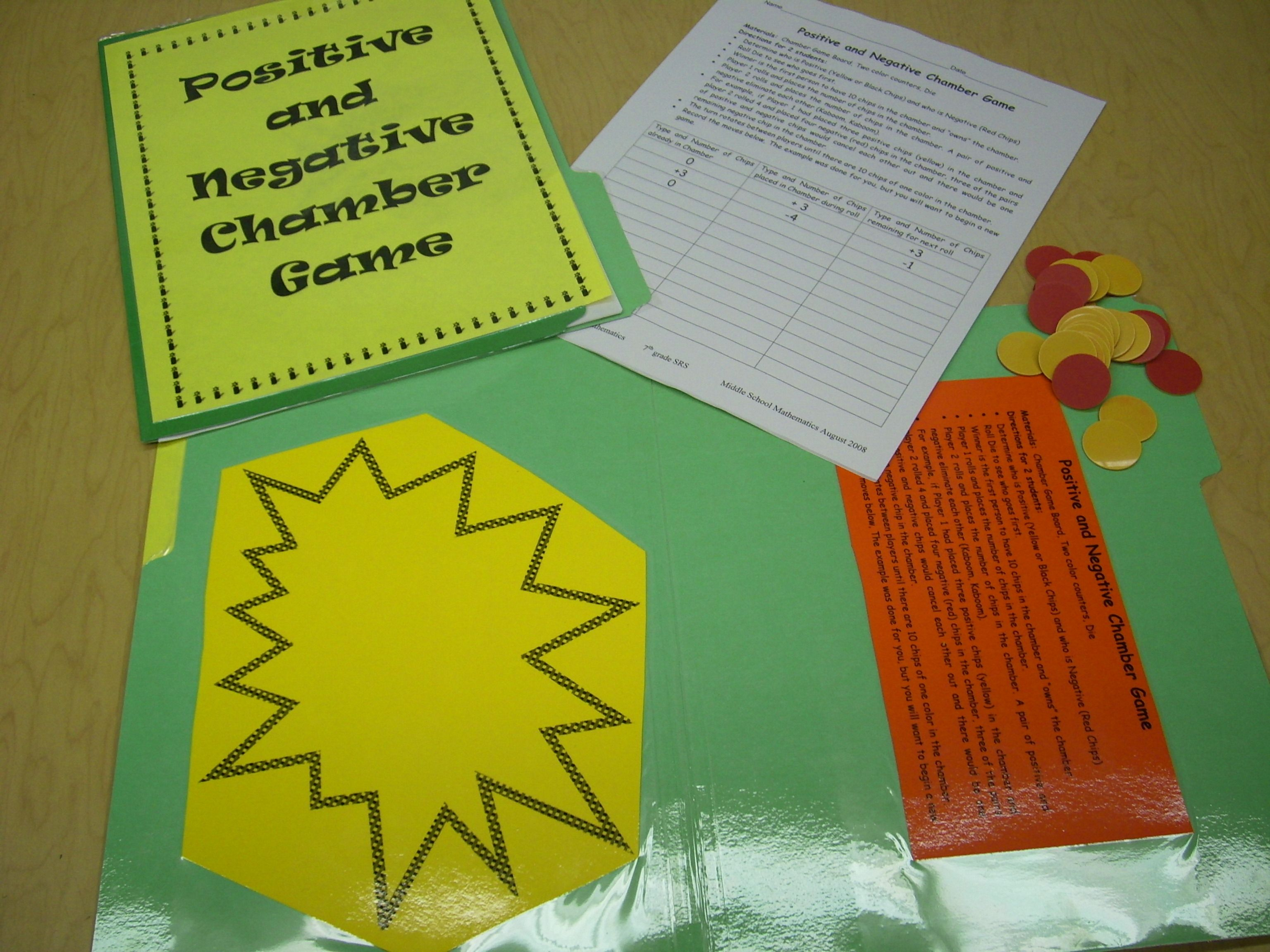 Math games; put all materials in one place and students get the materials needed for their game