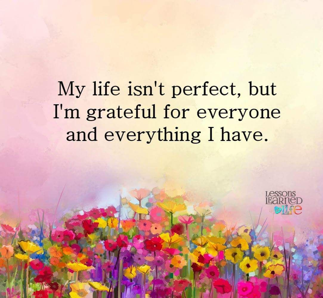 My life isn t perfect but I m grateful for everyone