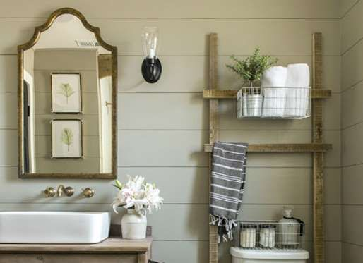 Keep bathroom essentials off the sink but close at hand by installing shelves or organizers in the s... - blog.jennasuedesign.com