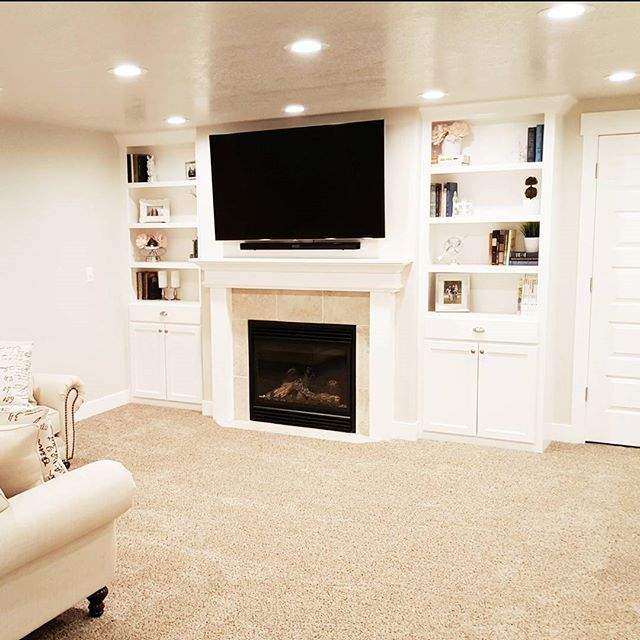 Light And Bright Basement Ideas, Fireplace And Book
