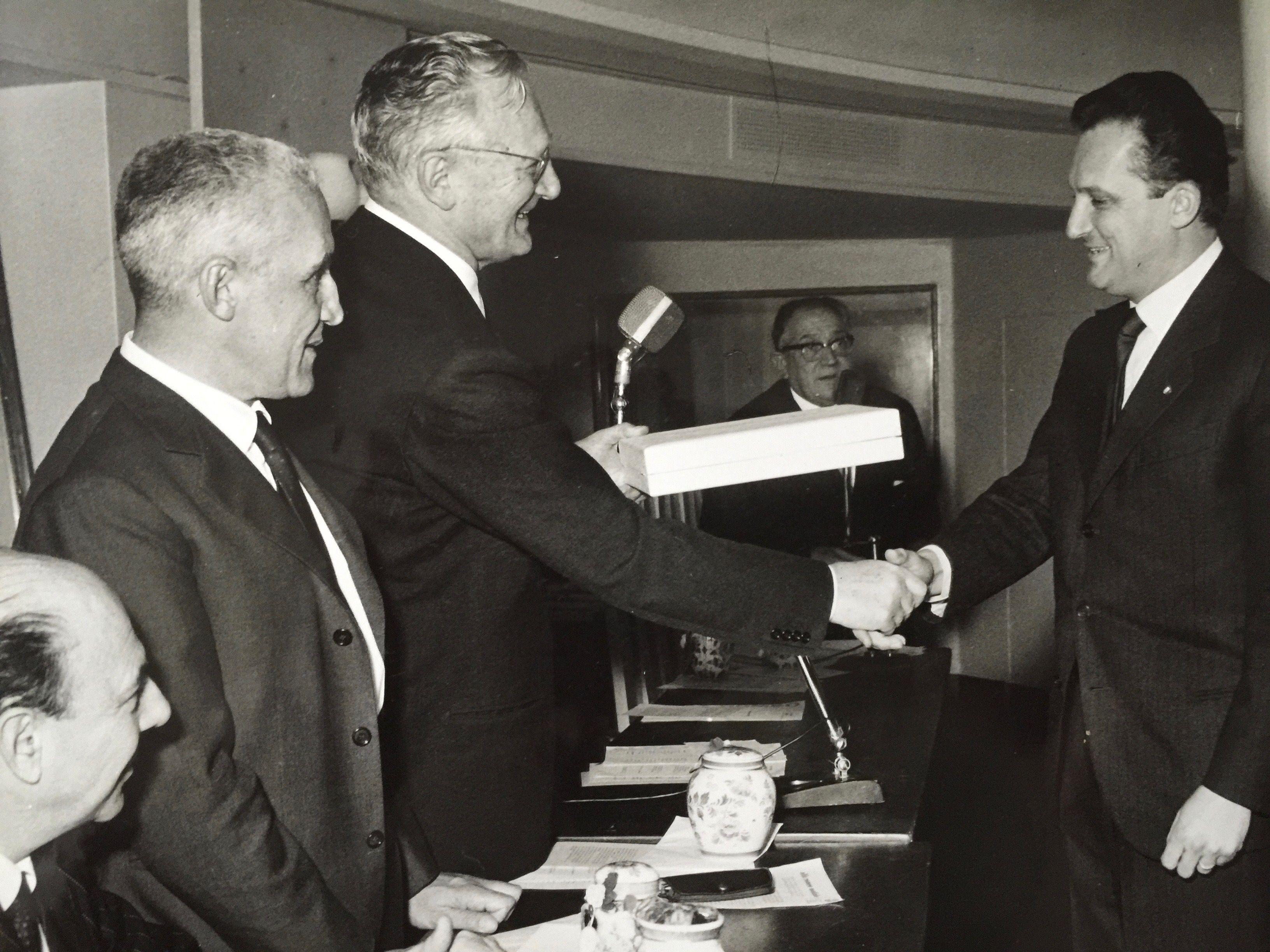 Piero Gancia at the Alfa Romeo 1964 prize giving with Dr. Luraghi, President of Alfa Romeo
