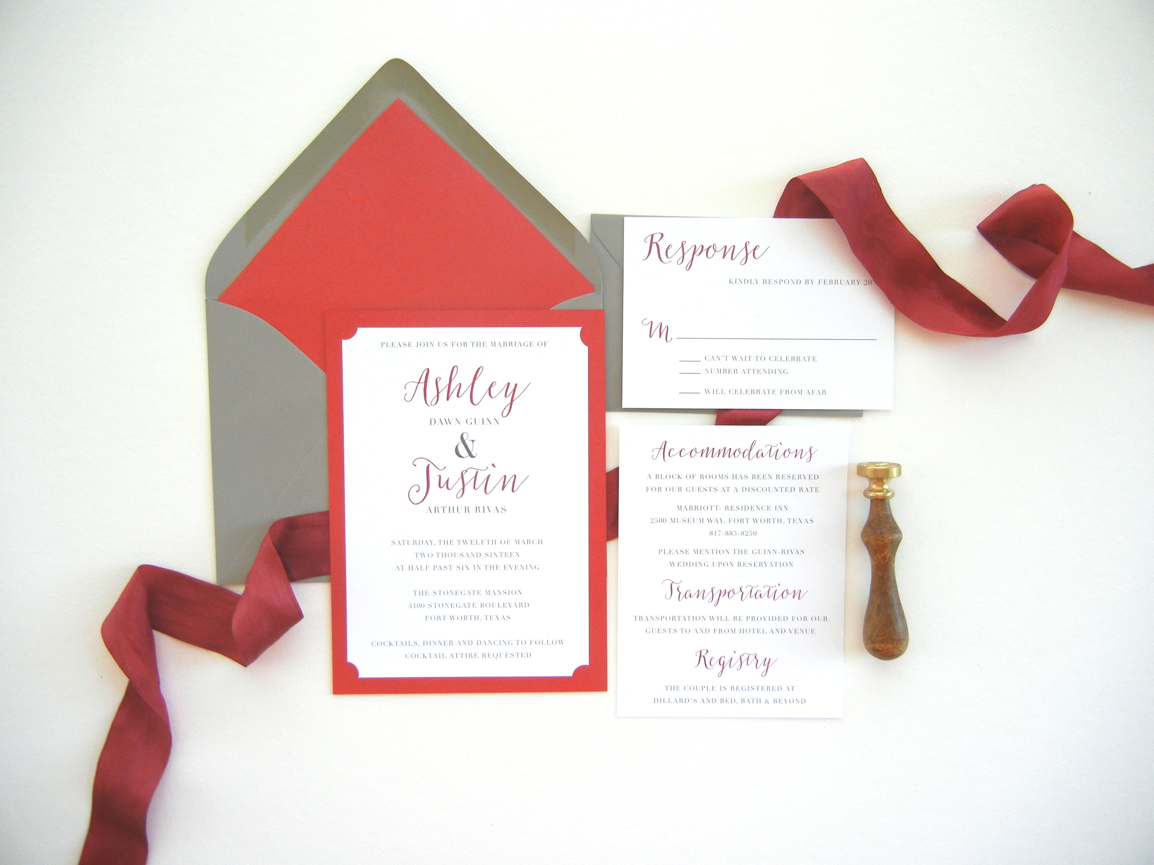 A Classic Red and Romantic Grey | Wedding Invitations and Lettering ...