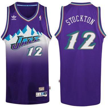 buy online f61de 81470 Utah Jazz John Stockton #12 Away Jersey Authentic and ...