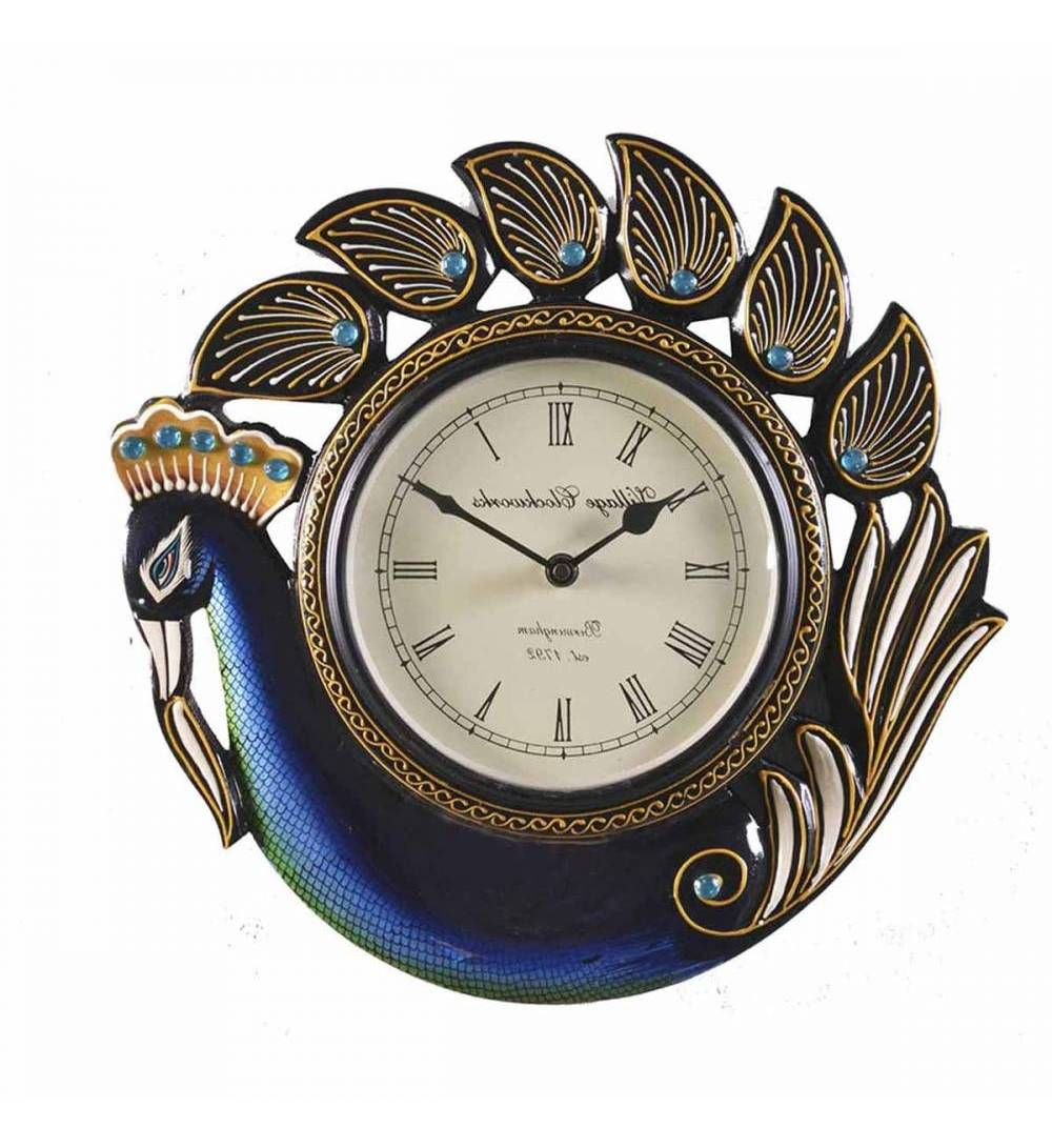Multicolor Wooden Peacock Shape Round Analogue Wall Clock Designer