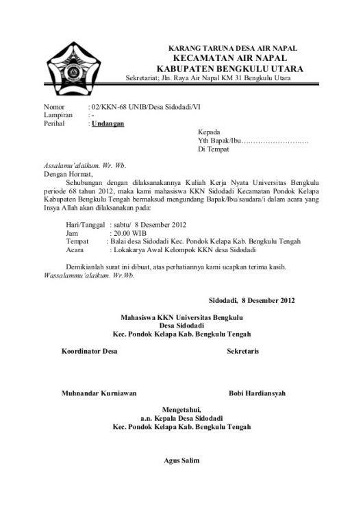 Contoh Surat Undangan Resmi Untuk Rapat Persiapan Pameran