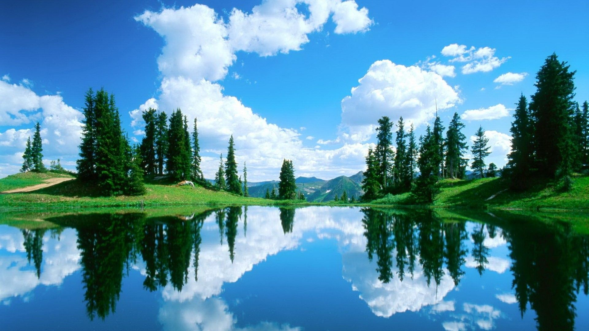 003344 Color Wallpapers Trees Mountain Forest Water Sky Ocean Hd Hd Nature Wallpapers Nature Wallpaper Beautiful Lakes