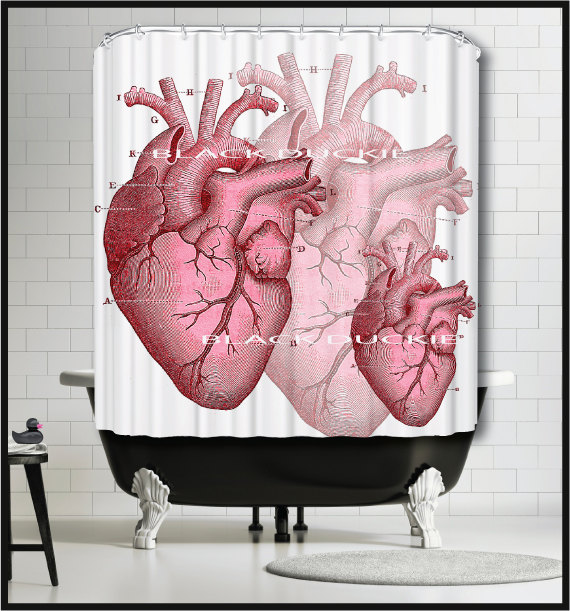Red Human Heart Shower Curtain