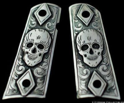 1911 pewter candy skull grips