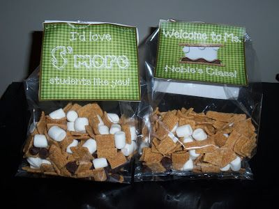 """""""We need s'more...like you!"""" Goody bags Graham cracker cereal, mini marshmallows, chocolate chips"""