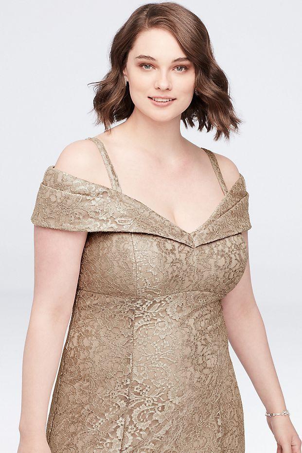 ColdShoulder Glitter Lace Plus Size Mermaid Dress Style
