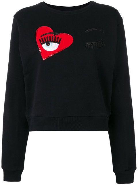 CHIARA FERRAGNI Wink Patches Cropped Sweatshirt. #chiaraferragni #cloth #sweatshirt