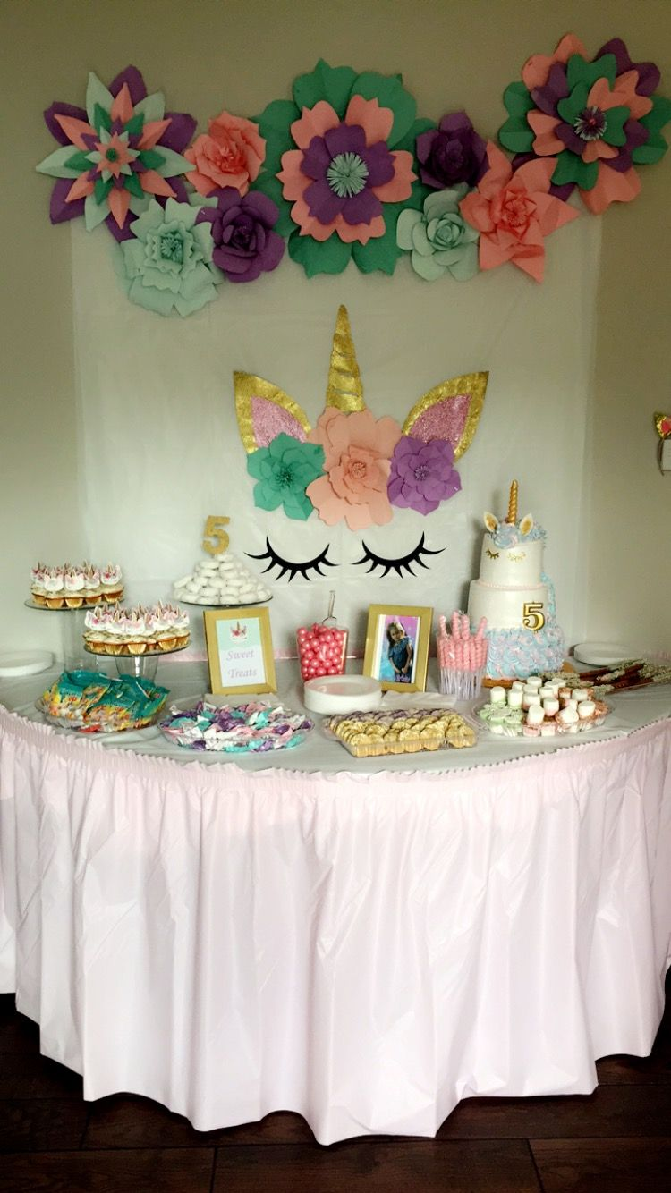 Unicorn Candy Table Birthday Candy Table Unicorn Themed