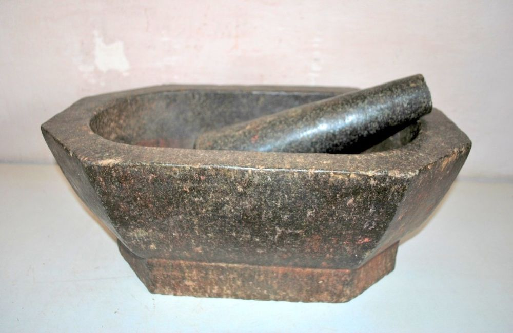 Mortar Pestle Antique Rare Black Stone Herb Spice Grinder Pot Kharal Antique Stone Mortar And Pestle Antiques