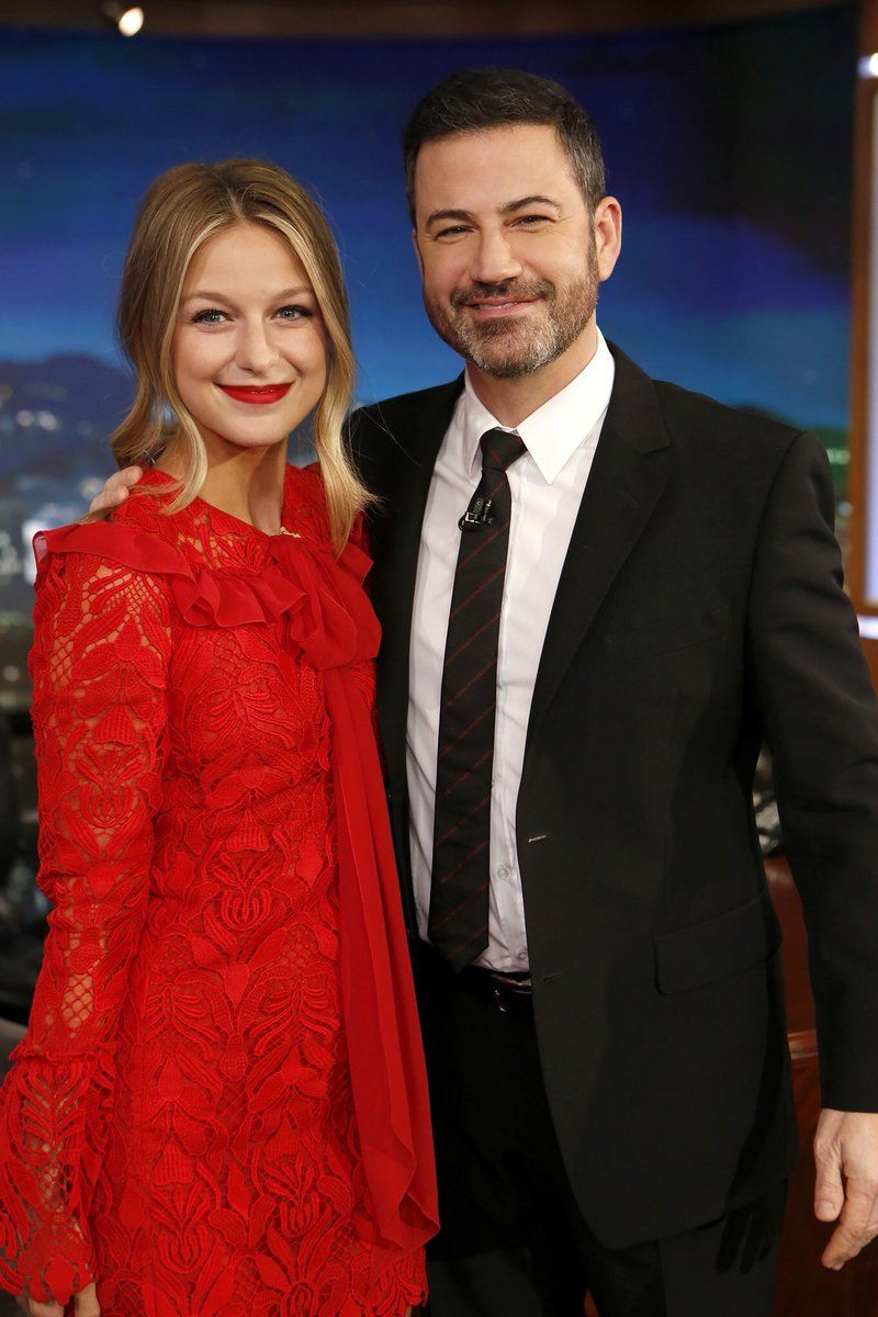 Melissa Benoist And Jimmy Kimmel Supergirl Melissa Benoist Jimmy Kimmel