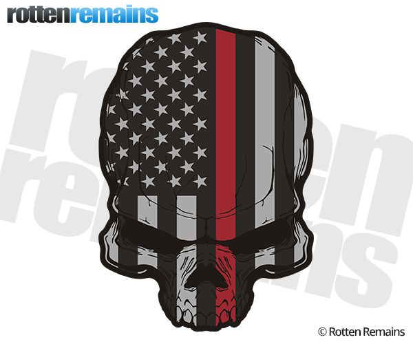 American Subdued Thin Red Line Flag Skull Fire Sticker Decal - Motorcycle helmet decals militarysubdued american flag sticker military tactical usa helmet decal
