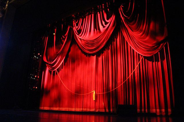View Of Closed Curtain With Tassels And Rope From Broadway Show