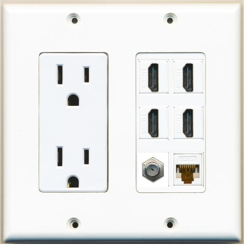 2 Gang Power Outlet Left 15a 125v 4 Hdmi 1 Cat6 1 Coax Port Wall Plate Custom Plates On Wall Electrical Outlets Power Outlet
