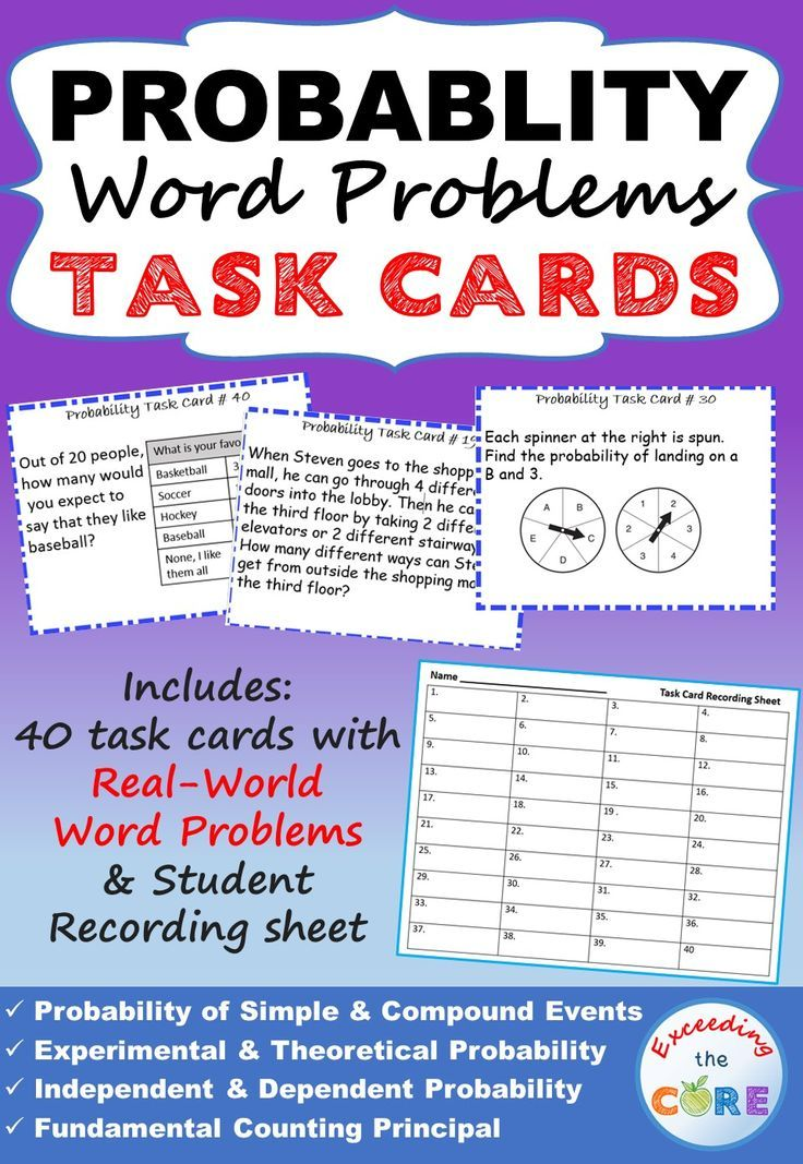 probability word problems task cards 40 cards math galore more word problems task. Black Bedroom Furniture Sets. Home Design Ideas