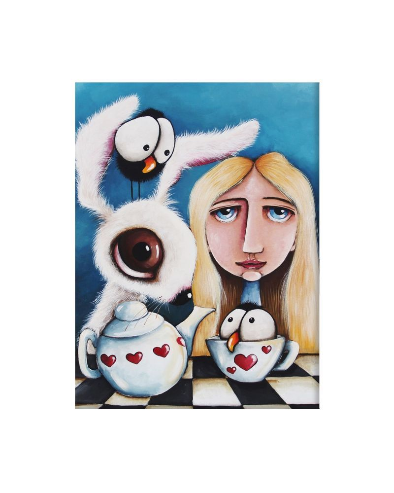 Large Print 10x8 Alice Wonderland White Mat Cello Bag By Lucia Stewart