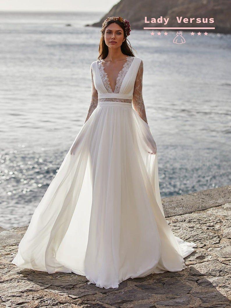 Bohemian elegant Lace Wedding Dress /Beach wedding dress /bridal ...