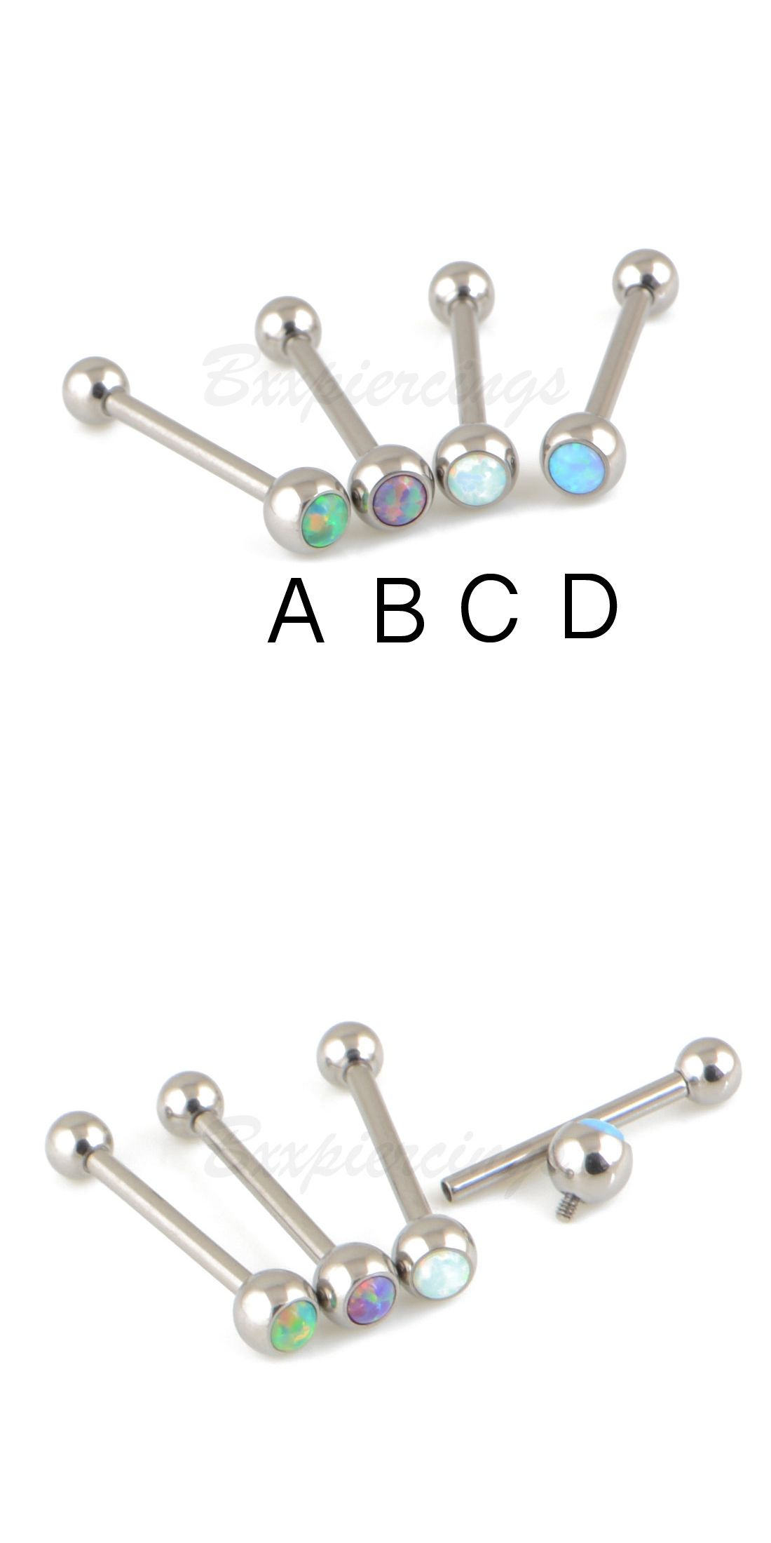 Tongue piercing areas  Body Piercing Jewelry  G   G Titanium Synthetic Opal