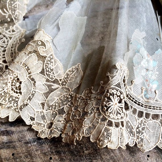 f85ee6f908 Antique 18th Century French Alençon Lace. A Border by LaClariere