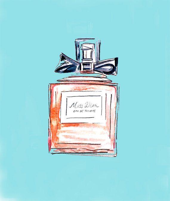 Arte illustrazione moda stampa - bottiglia di profumo di Miss Dior - arte moda - Dior - stampa di moda - profumo - noi spedizione gratuita!