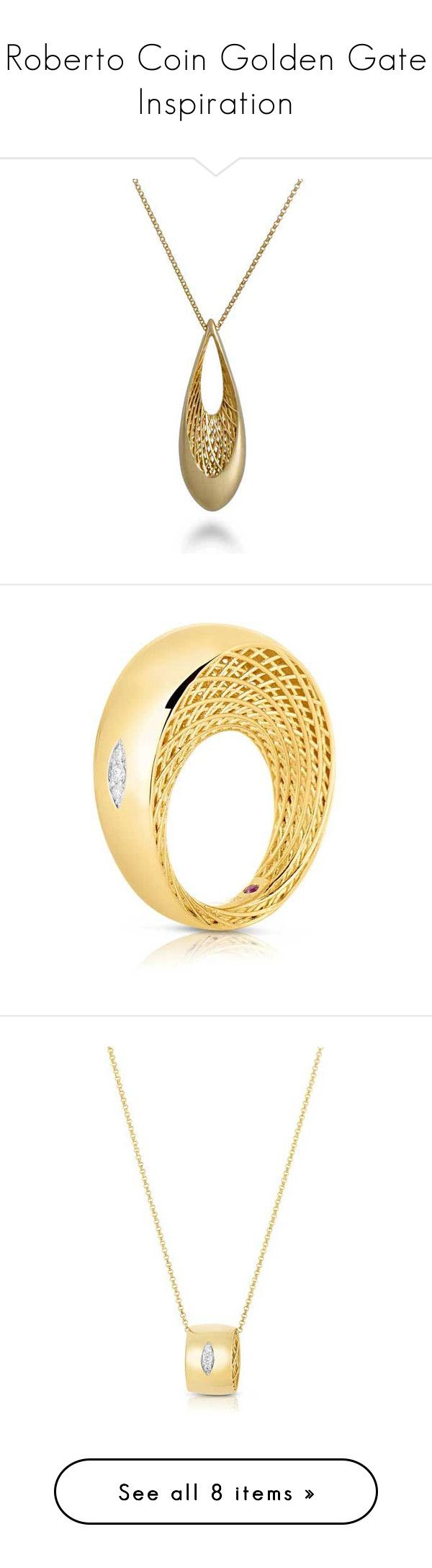 """""""Roberto Coin Golden Gate Inspiration"""" by jrdunn ❤ liked on Polyvore featuring goldengate, robertocoin, Roberto Coin, jewelry, necklaces, yellow gold necklace, teardrop pendant necklace, golden jewelry, roberto coin necklace and yellow gold jewelry"""