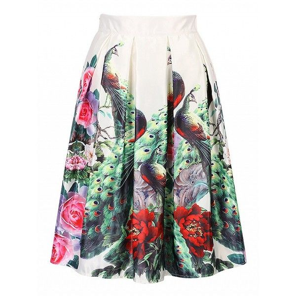 Choies Multicolor Peacock And Floral Print Midi Skater Skirt ($14) ❤ liked on Polyvore featuring skirts, multi, circle skirts, calf length skirts, skater skirts, mid calf skirts and flower print skirt