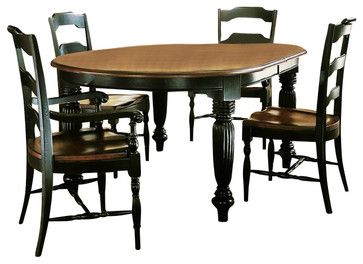 Furniture Indigo Creek Oval Dining Table In Rub Through Black Transitional Tables Other Metro Cymax
