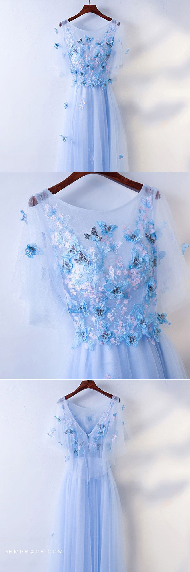 Cute blue flowy long cheap prom dress with butterflies myx