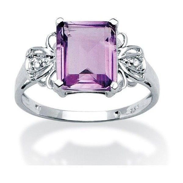 PalmBeach Jewelry 2.98 TCW Emerald-Cut Amethyst and White Topaz Ring... ($80) ❤ liked on Polyvore