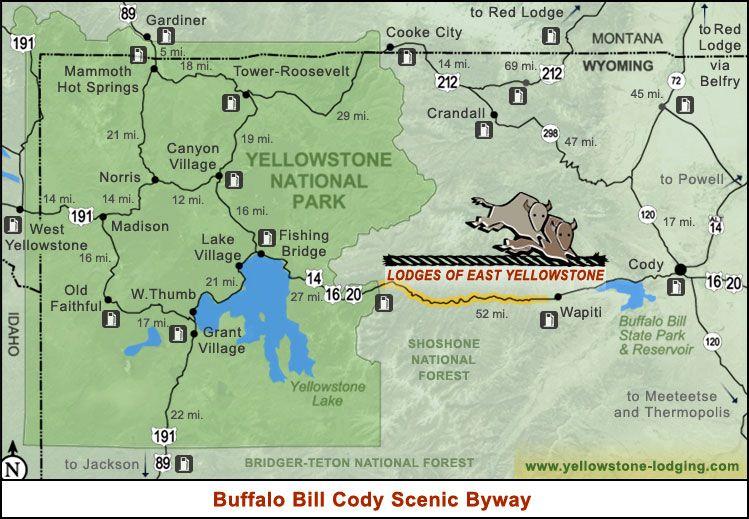 Map Buffalobill Jpg 749 519 Pixels Scenic Byway Yellowstone Trip Yellowstone Vacation