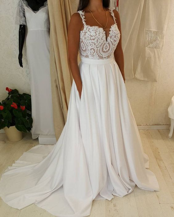 Spaghetti strap sweetheart neck lace top wedding dress with pocket spaghetti strap sweetheart neck lace top wedding dress with pocket on skirt how about is junglespirit Images