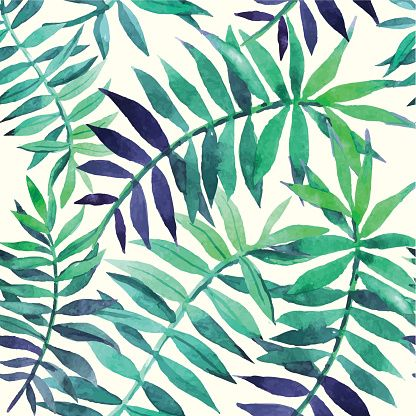 Vector Illustration With Tropical Leaves Vector Art Illustration Floral Stock Images Fern Prints Floral Background Hawaii background with geometric grid. vector illustration with tropical