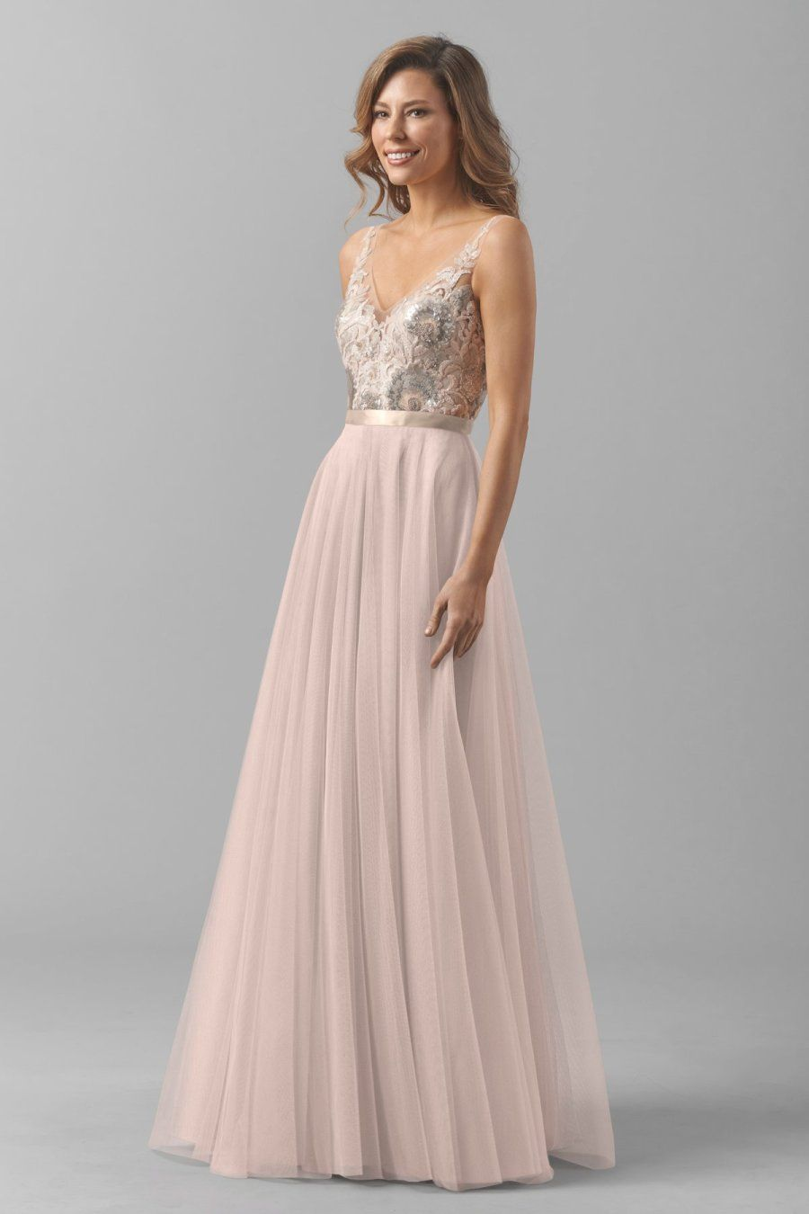 Get the look taylor swifts blush gold reem acra maid of honor pretty blush watters bridesmaid dress httpstylemepretty ombrellifo Images