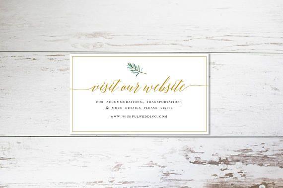 Fl Greenery Wedding Website Card Insert Template Editable