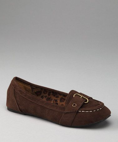 Take a look at this Brown Buckle Flat by Launch on #zulily today!