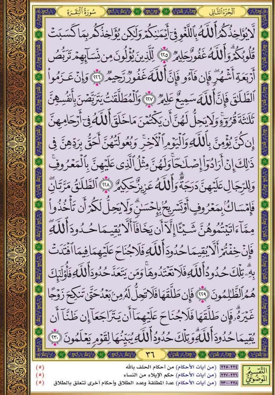 ٢٢٥ ٢٣٠ البقرة مصحف التقسيم الموضوعي Holy Quran Book Quran Book Quran Verses