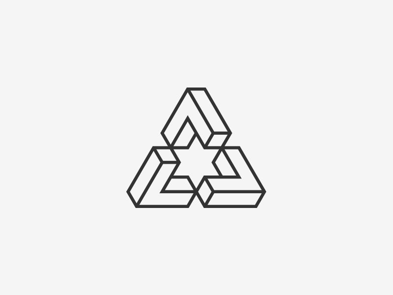 Impossible Triangle Triangles, Isometric grid and Geometric logo - triangular graph paper