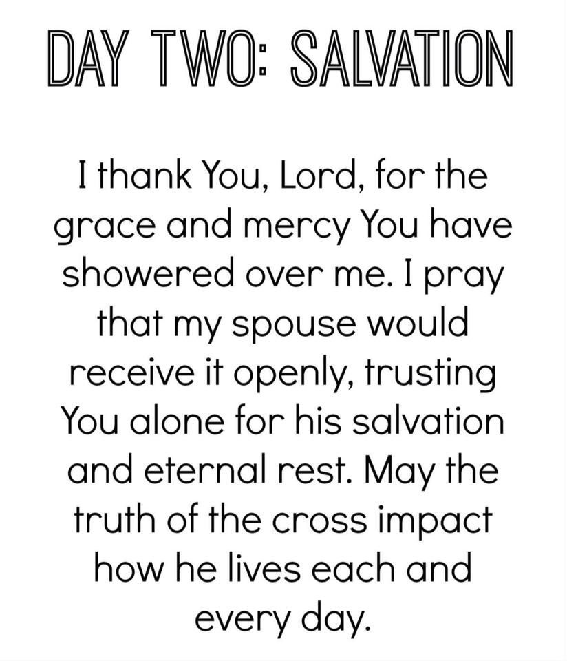 Day 2 salvation prayers for my husband future