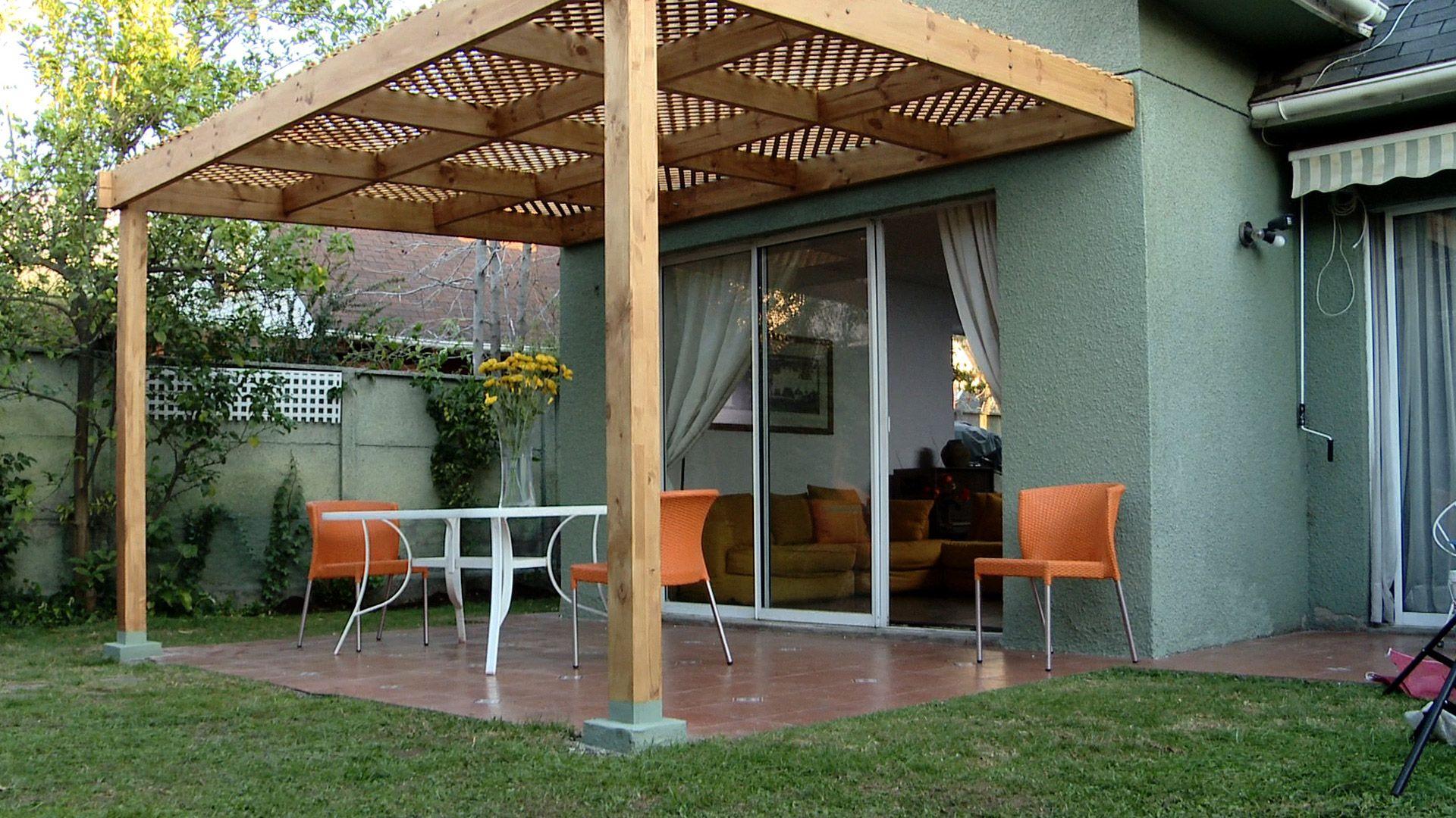 en las terrazas se puede hacer como techumbre un cobertizo o prgola una estructura de