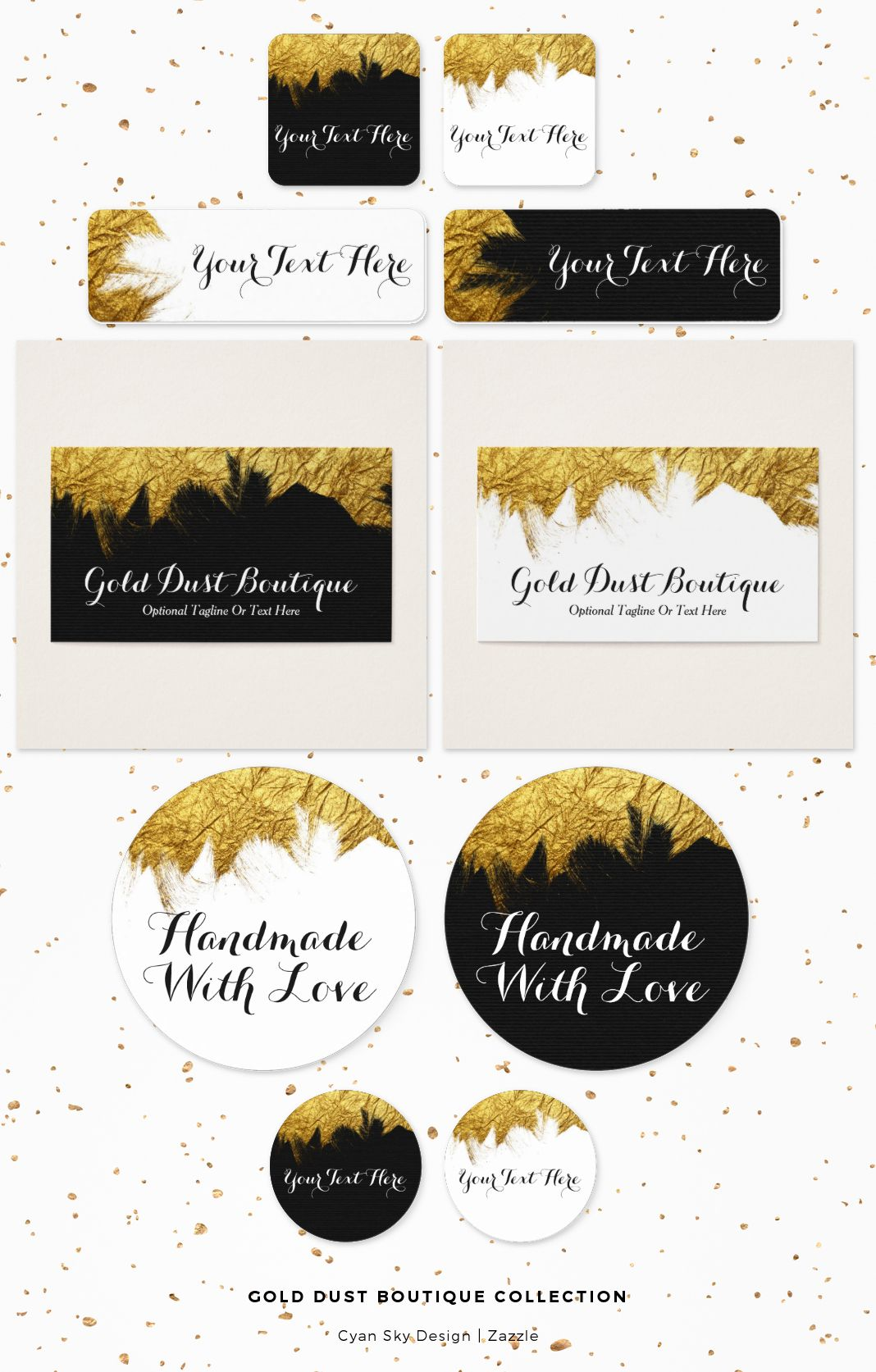 Gold Dust Boutique Collection: Faux gold foil - a bold impression for your small business branding! Bling your boutique with glamorous eye-catching gold dust. Bright, shiny, and full of texture. Versatile for many types of businesses! CyanSkyDesign on Zazzle.