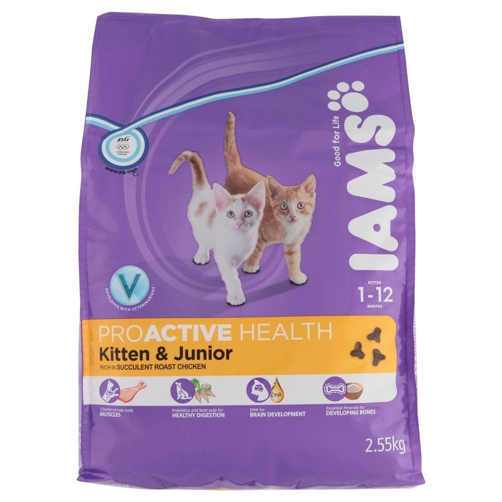 Iams Proactive Health Kitten And Junior Dry Food With Rich In Succulent Roast Chicken 1 12 Months 2 55kg Click Image For More Kitten Food Kitten Cat Food